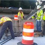Placing concrete Pier cap and beam seats reconstruction
