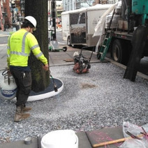 Capital Flexi Pave drying out the No.57 stone prior to placing the porous flexible pavement
