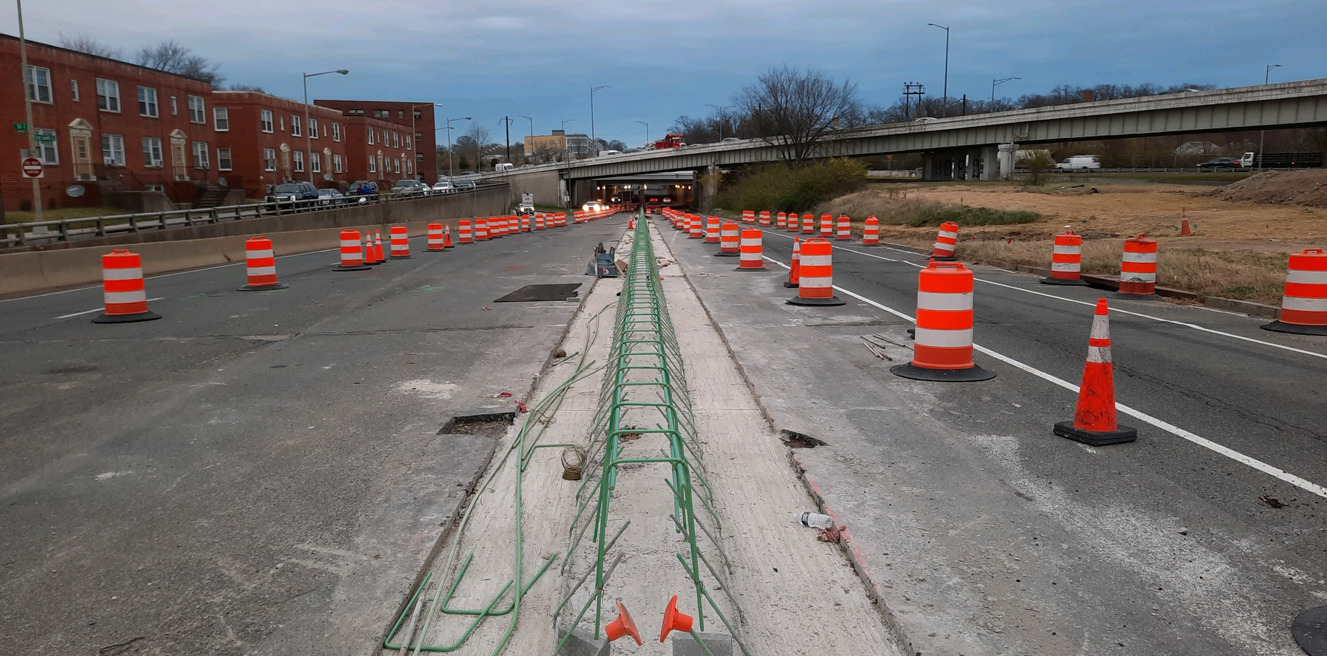Installing Rebars for Median Barrier at East Approach