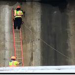 """Contractor is installing expansion bolts to support brackets for scaffolding at 1016 & 1017 abutments """"A"""" on S. capitol St. NB"""