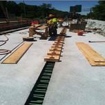Formwork in progress for deck closure pour (i.e. 2-1,2- 2) on AFW Bridge # 1017 over I-295 SB