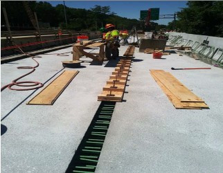 Formwork in progress for deck closure pour (i.e. 2-1,2- 2) on AFW Bridge # 1017 over I-295 SB