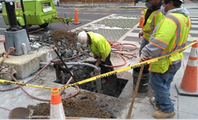 FMCC Restoring damaged Signal foundation at Q street