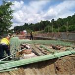 Approach Slab rebar installation on AFW Bridge # 1017 Abutment-B over I-295 SB