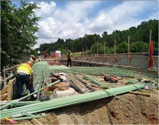 Approach Slab rebar installation on AFW Bridge # 1017 Abutment-B over I-295 SB