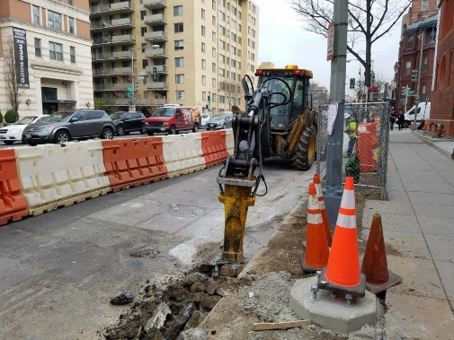 FMCC Demoing the existing brick gutter between Thomas Circle and N Street