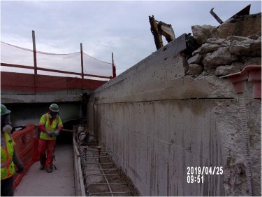 Sawcut section on bridge 1016 abutment A backwall