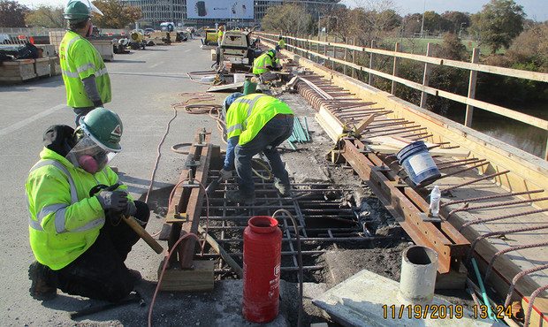 Installing Bridge Drainage Scuppers.JPG