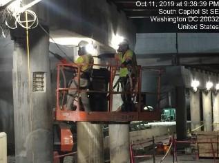Chipping for concrete patch repair Bridge 1016 Pier