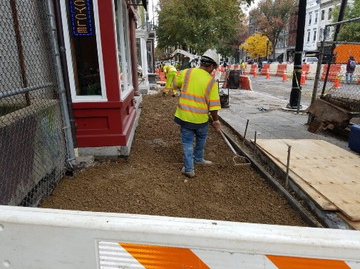 Aggregate Base Material placement prior to PCC Sidewalk between N Street and Rhode Island Ave