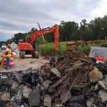 Demolishing existing pavement on SB-295 abutment A approach