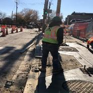 PCC sidewalk work SB between cypress and Milwaukee intersection