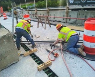 Demoilition on deck 2-2 for realignment of Expansion joint on AFW Bridge # 1017 over I-295 SB.
