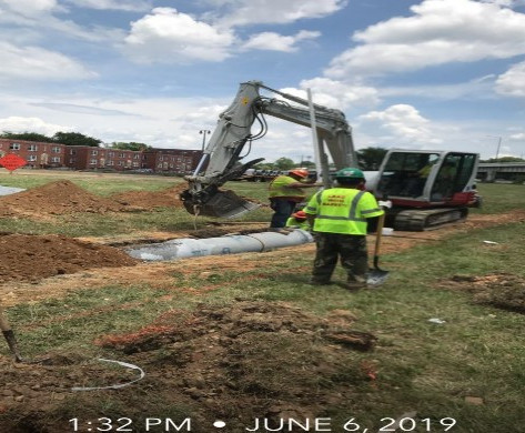 """Installing Temporary 15"""" RCP Pipe at Ramp A between East Capitol Street and I-295N"""