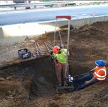 Subcontractor(ECS) performing DCP test for proposed jerk foundation for AFW Bridge # 1017 pier.
