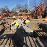 Installing granite curb for new median at Lebaum St, SE & NB MLK