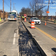 """Placement of Vapor barrier before pouring concrete for 10"""" PCC Base at trench from ST Elizabeth 3rd gate -Milwaukee SB"""