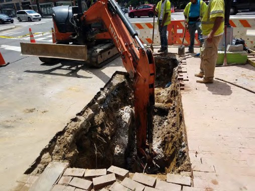 Excavation for new double catch basin at the NE corner of Rhode Island Ave