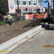 Placing planting soil for tree space at SB MLK Jr Ave, SE at Sta: 53+25 to Sta: 52+50