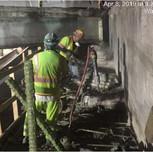 Demolishing existing beam seats on Bridge 1017 abutment B, left of baseline