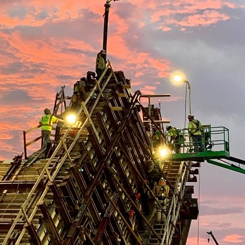 Building out the V-Pier at Dusk