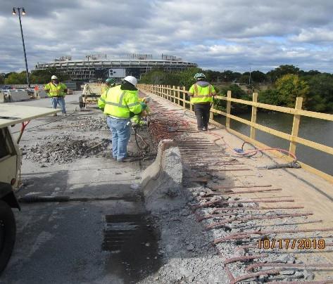 East Capitol Street Bridge Over Anacostia River, North Bridge Parapet Removing.