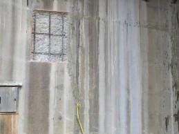 Chipped surface concrete repair on bridge 1016 abutment