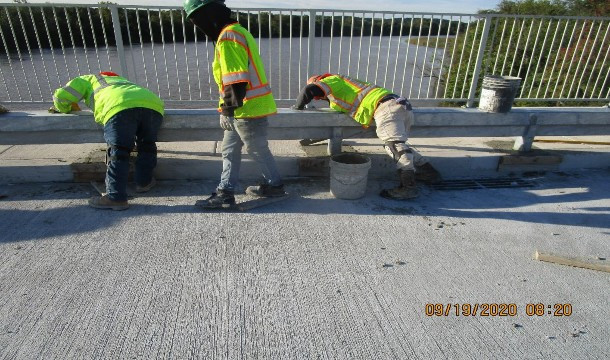 Filling Historic Railing Pockets, South Bridge.