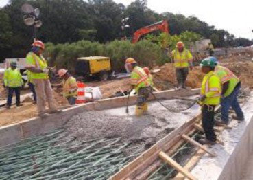 Placing concrete bridge 1017 abutment A