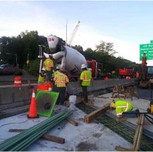 Placing concrete Abutment B stemwall and beam seats reconstruction