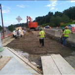 """Placement of GAB material lift @ 12"""" for proposed Approach Slab on AFW Bridge # 1017 Abutment-A over I-295 SB"""