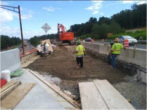 "Placement of GAB material lift @ 12"" for proposed Approach Slab on AFW Bridge # 1017 Abutment-A over I-295 SB"