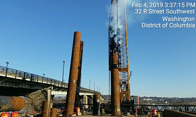 Pile driving for the west abutment