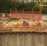 Drilling holes to install rebars Bridge 1017 abutment B stem-wall.