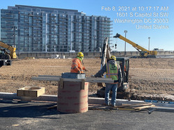West Oval-augering, setting rebar and fo