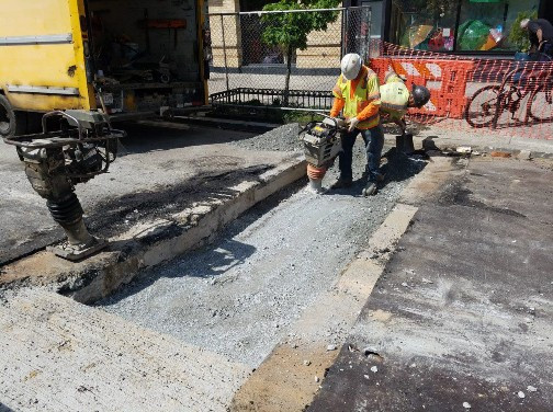 Compaction of Aggregate Base Material over Water Service Line