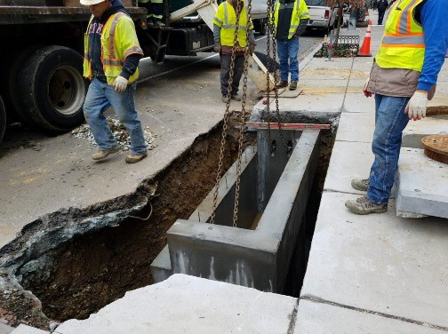 Installation of Double Catch Basin at Swann Street