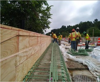 Rebar installation for Moment Slab Parapet Wall over I- 295 SB on AFW Bridge # 1017 Abutment-B.