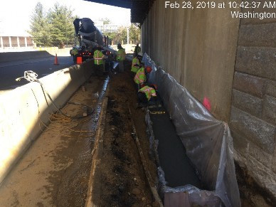 Placing concrete Bridge 1017 Abutment A Superstructure Jacking Foundation