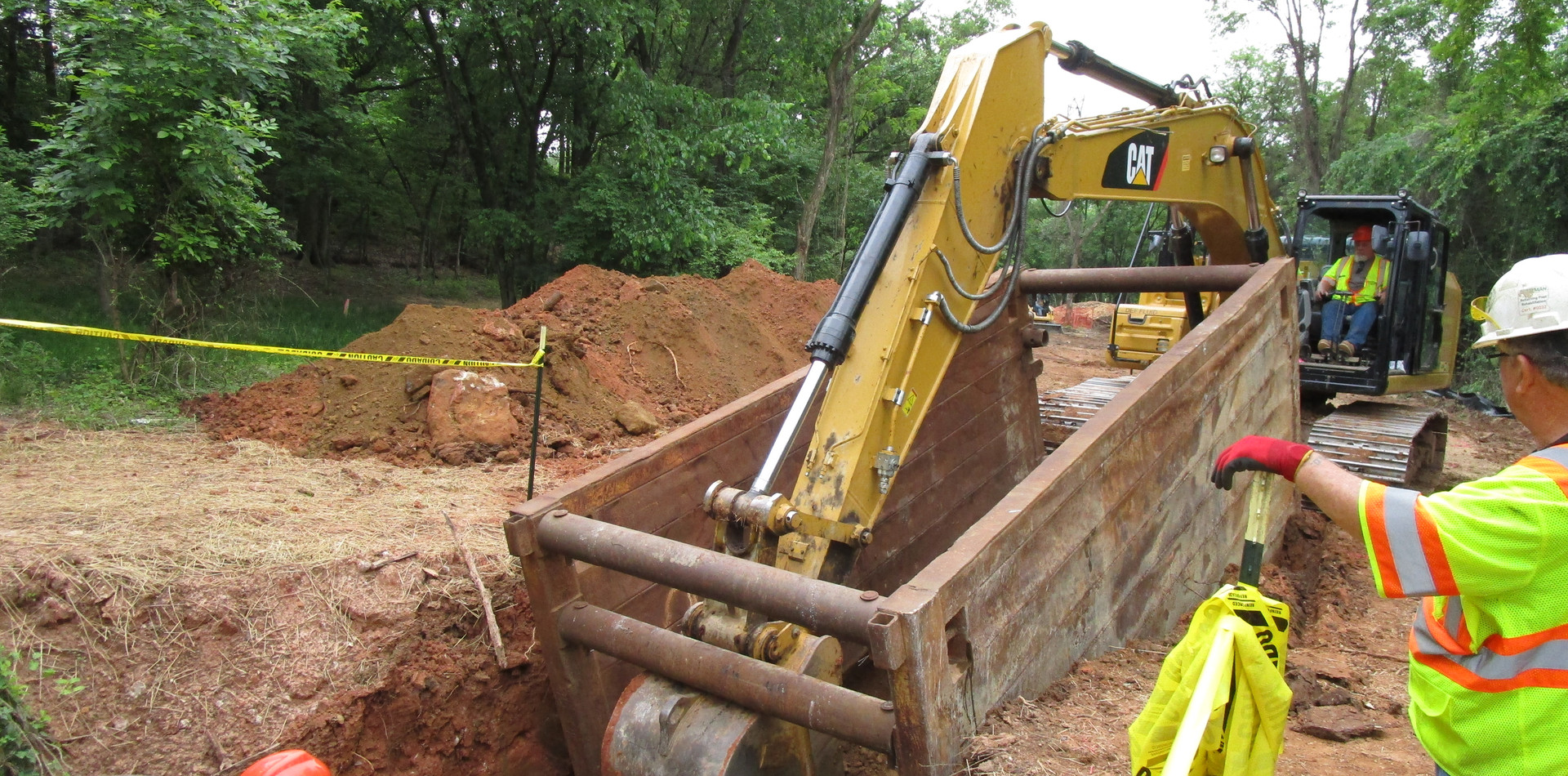 Installing Trench Box for Storm Drain Pipe Installation