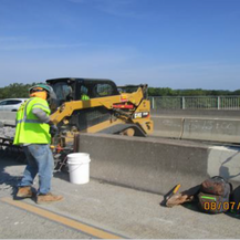 Removing Median Barrier at the Base of the Existing Overhead Sign Structure #2