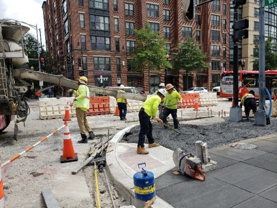 DEN placed 4 CY of Class F (3500 PSI) DC-dot mix at 1 p.m. for PCC Sidewalk plus 9 CY Class F Concrete before Noon. On 8/26/2019 for Sidewalk at 14th & W St. NW.