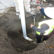 Installing riser for 4-inch underdrain pipe for bio retention at Sta: 48+20 Nb Alabama Ave, SE