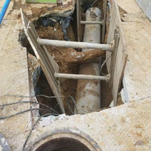 """Installation of 15"""" PCC Sewer Connection Pipe at the NE corner of Rhode Island Ave"""