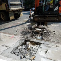 Excavation of Lateral and Street Light Foundation between P Street and Church St.
