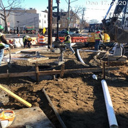 Placing of underdrain connect pipe from new manhole-QBR1 (4th Street/MLK NB RT)