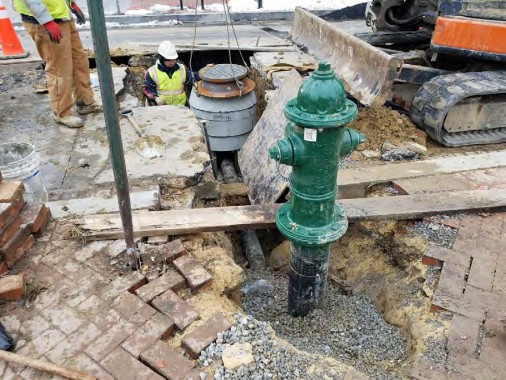Installation of Fire Hydrant at 14th and Swann