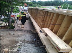 Reinforcing formwork for propose Moment Slab Parapet Wall on AFW Bridge # 1017 over I-295 SB