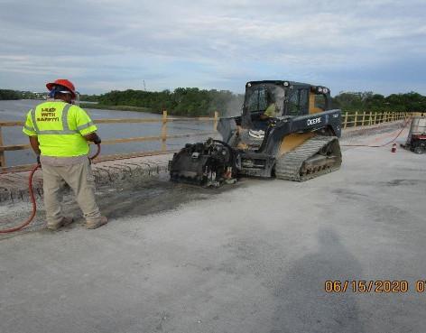Milling for Sidewalk Widening, South Bridge.