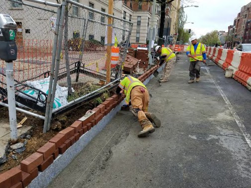 Placing New Brick Gutter on the Westside between Thomas Circle and N Street